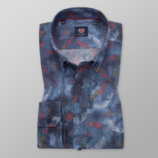 Men's slim fit shirt in blue color with feather pattern 11743, Willsoor