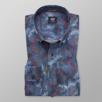 Men's classic shirt in blue color with feather pattern 11744, Willsoor