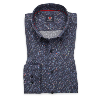Men's slim fit shirt in dark blue color with colorful pattern 11745, Willsoor