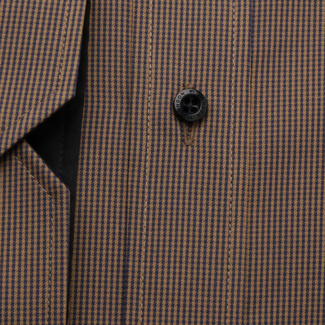 Men's slim fit shirt in brown with fine check pattern 11751, Willsoor