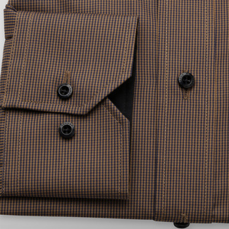 Men's classic shirt in brown color with fine check pattern 11752, Willsoor