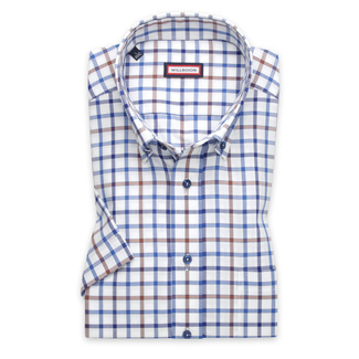 Men's slim fit shirt with blue-brown check pattern 11758, Willsoor
