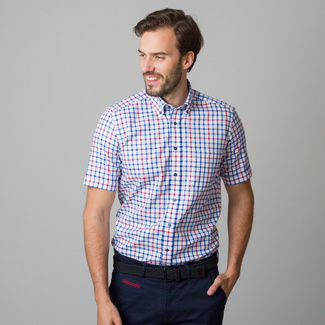 Men's Slim Fit shirt with red and blue check pattern 11760