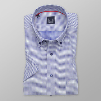 Men's Slim Fit shirt with blue-white polka dot pattern 11768