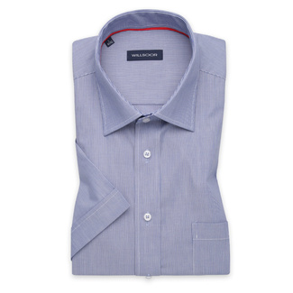 Men's Slim Fit shirt in blue with white striped pattern 11770, Willsoor