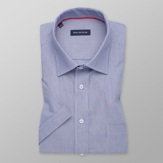 Men's classic shirt in blue with white striped pattern 11771