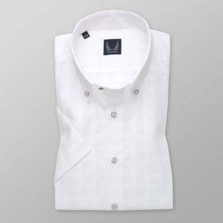 Men's Slim Fit shirt in white with smooth pattern 11774, Willsoor