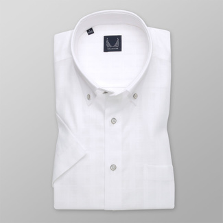 Men's classic shirt in white with smooth pattern 11775, Willsoor