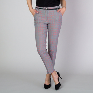 Women's suit trousers with red check pattern 11783, Willsoor