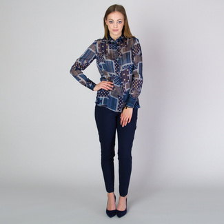 Women's shirt with brown and blue pattern 11811, Willsoor
