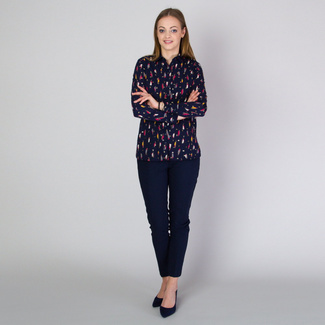 Women's shirt in dark blue color with colorful pattern 11812, Willsoor