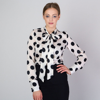 Women's shirt with long bow and black spotted pattern 11814, Willsoor