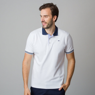 Men's polo shirt in white color with piping 11827, Willsoor
