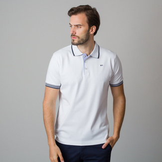 Men's polo shirt in white color with dark blue rims 11829, Willsoor