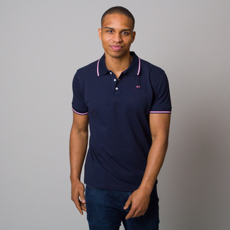 Men's polo shirt in dark blue with rim 11830