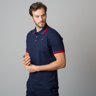 Men's polo shirt in dark blue with red rim 11831, Willsoor