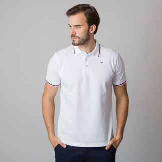 Men's polo shirt in white with blue-red rim 11832, Willsoor