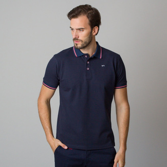 Men's polo shirt in dark blue with red-white rim 11833