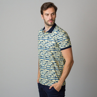 Men's polo shirt in light yellow with black palm trees print 11839, Willsoor