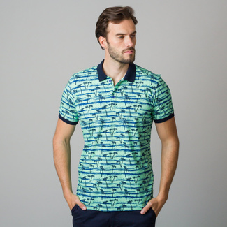 Men's polo shirt in light green with black palm trees print 11841