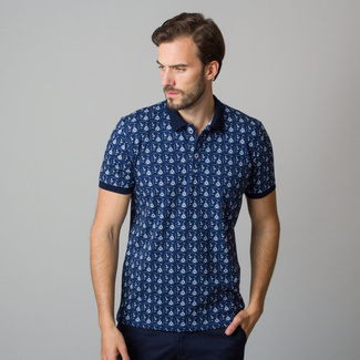Men's polo shirt with white sailing boats and anchors print 11845