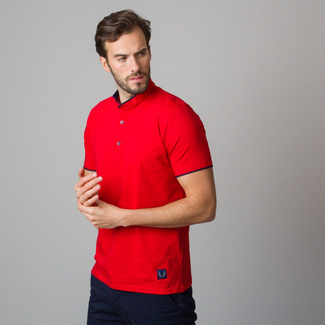 Men's polo shirt in red color with dark blue hemming 11849, Willsoor