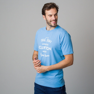 Menś t-shirt in blue color with white inscription 11855, Willsoor