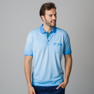 Men's polo shirt in light blue with fine tinting 11859