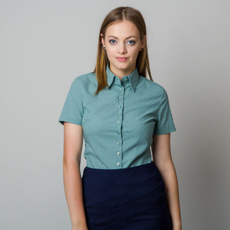 Women's shirt in light green color with fine raised pattern 11866, Willsoor