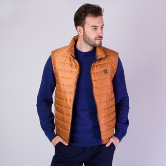 Men's quilted vest in copper color with shiny surface 11868