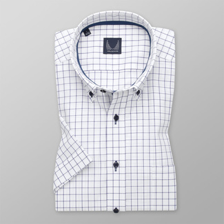 Men's classic shirt in white with an attractive design: dark blue check pattern 11870, Willsoor