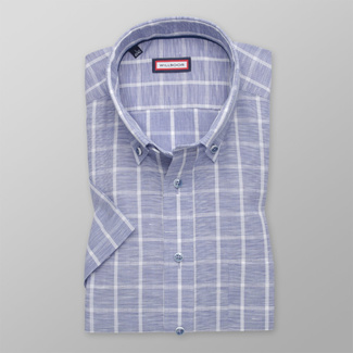 Men's Slim Fit shirt in light blue with check pattern 11872, Willsoor