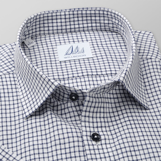 Men's classic shirt with dark blue check pattern 11879, Willsoor