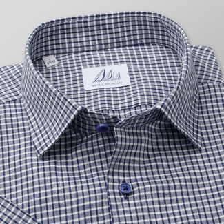 Men's Slim Fit shirt with blue-white check pattern 11880, Willsoor