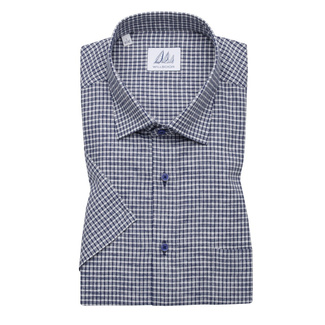 Men's classic shirt with blue-white check pattern 11881, Willsoor