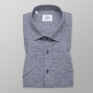 Men's classic shirt with blue-white check pattern 11881