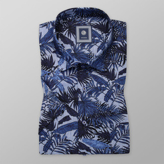 Men's classic shirt with dark blue floral print 11885, Willsoor