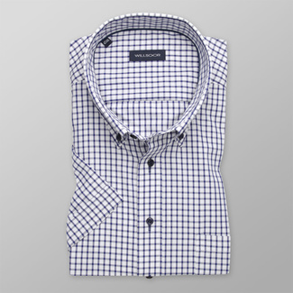 Men's classic shirt with dark blue check pattern 11891