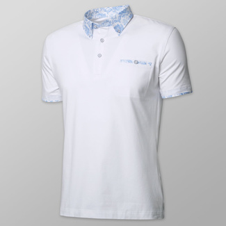 Men's polo shirt in white color with light blue floral elements 11893, Willsoor