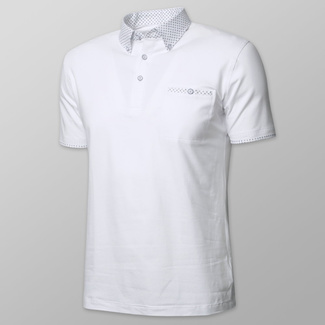 Men's polo shirt in white color with dark blue anchors print 11894, Willsoor
