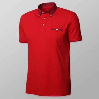 Men's polo shirt in red color with fine geometric elements 11895, Willsoor