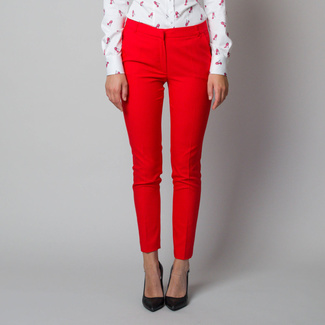 Women's suit trousers in red-orange color 11897