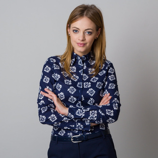 Women's shirt with white flower pattern 11918, Willsoor