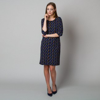 Midi dress in dark blue color with polka dot pattern 11922, Willsoor