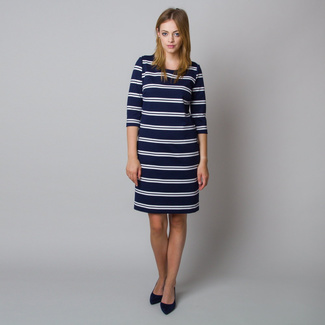 Midi dress with white striped pattern 11927, Willsoor