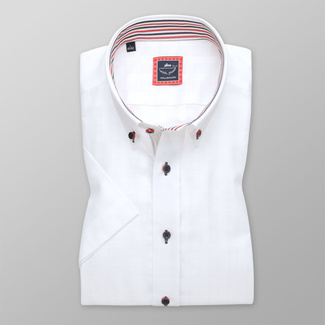 Men's Slim Fit shirt in white color with contrast elements 11931