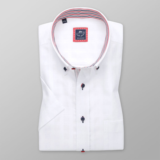 Men's classic shirt in white color with contrast elements 11932
