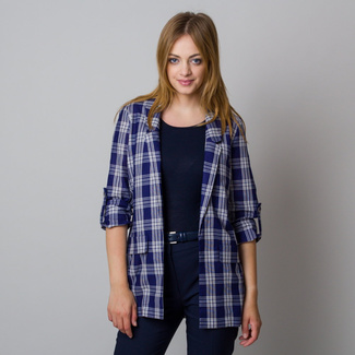 Women's suit jacket in dark blue color with check pattern 11939, Willsoor
