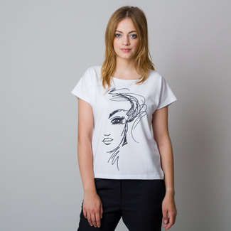 Women's t-shirt in white with black print 11940, Willsoor