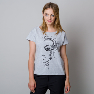 Women's t-shirt in grey with black print 11944